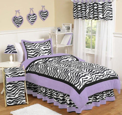 Purple Funky Zebra Teen Bedding - 3 pc Full / Queen Set - Click to enlarge