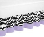 Purple Funky Zebra Bed Skirt for Toddler Bedding Sets