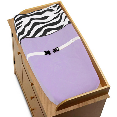 Purple Funky Zebra Changing Pad Cover by Sweet Jojo Designs - Click to enlarge