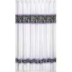 Purple Funky Zebra Kids Bathroom Fabric Bath Shower Curtain