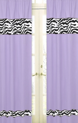 Purple Funky Zebra Zebra Window Treatment Panels - Set of 2 - Click to enlarge