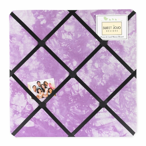 Purple Groovy Peace Out Tie Dye Fabric Memory/Memo Photo Bulletin Board - Click to enlarge