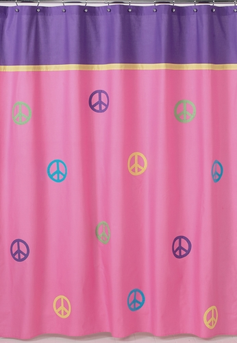 Purple Groovy Peace Sign Kids Bathroom Fabric Bath Shower Curtain - Click to enlarge