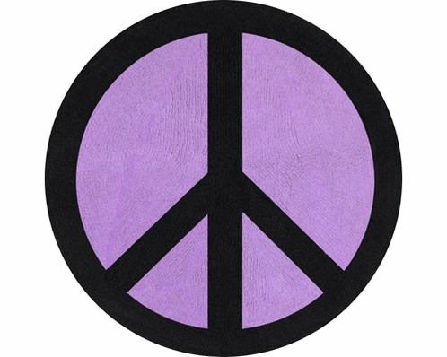 Purple Groovy Peace Sign Tie Dye Accent Floor Rug - Click to enlarge