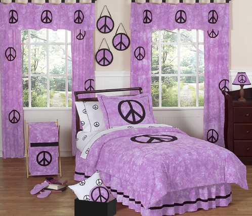 Purple Groovy Peace Sign Tie Dye Children's Bedding - 4 pc Twin Set - Click to enlarge