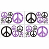 Purple Groovy Peace Sign Tie Dye Kids and Teens Wall Decal Stickers - Set of 4 Sheets