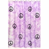 Purple Groovy Peace Sign Tie Dye Kids Bathroom Fabric Bath Shower Curtain