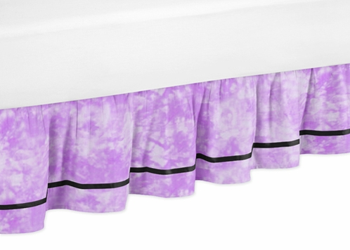 Purple Groovy Peace Sign Tie Dye Queen Kids Children's Bed Skirt by Sweet Jojo Designs - Click to enlarge