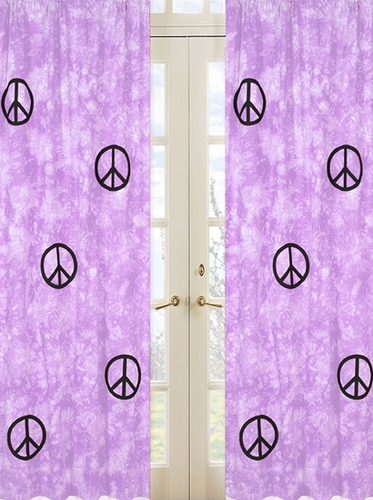 Purple Groovy Peace Sign Tie Dye Window Treatment Panels - Set of 2 - Click to enlarge