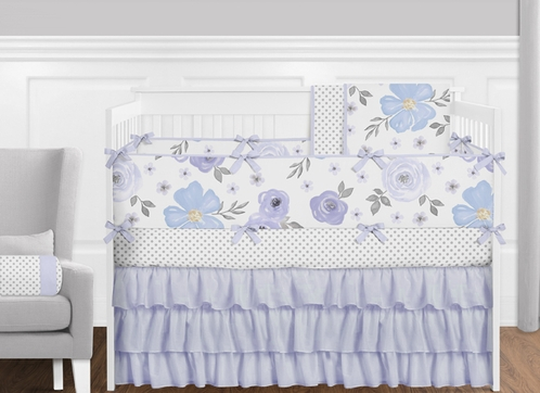 Purple, Lavender, Blue and Grey Shabby Chic Watercolor Floral  Baby Girls Crib Bedding Set with Bumper - 9 Pieces - Click to enlarge