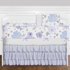 Purple, Lavender, Blue and Grey Shabby Chic Watercolor Floral  Baby Girls Crib Bedding Set with Bumper - 9 Pieces