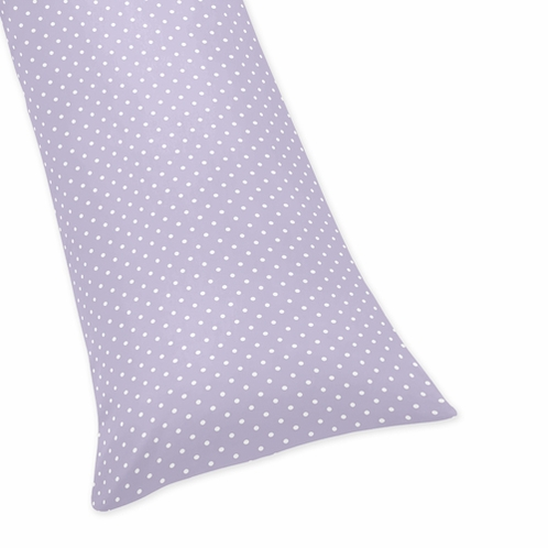 Purple White Polka Dot Full Length Double Zippered Body Pillow Case Cover for Sweet Jojo Designs Sloane Sets - Click to enlarge
