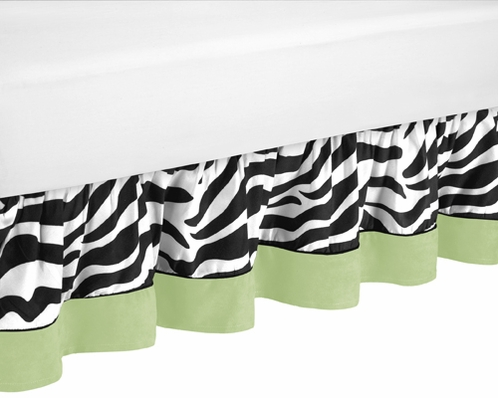 Queen Bed Skirt for Lime Funky Zebra Bedding Sets by Sweet Jojo Designs - Click to enlarge