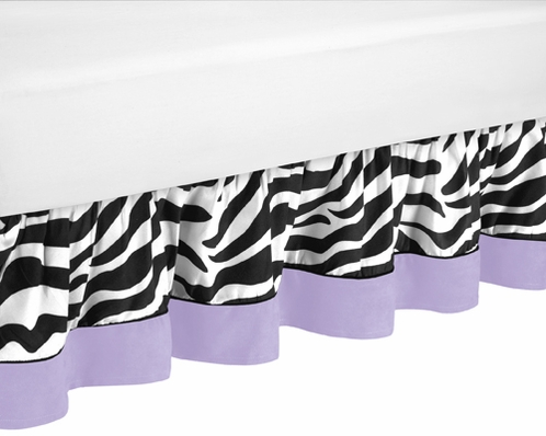 Queen Bed Skirt for Purple Funky Zebra Bedding Sets by Sweet Jojo Designs - Click to enlarge