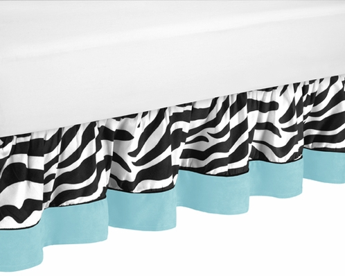 Queen Bed Skirt for Turquoise Funky Zebra Bedding Sets by Sweet Jojo Designs - Click to enlarge