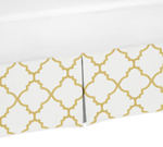 Queen Bed Skirt for White and Gold Trellis Collection Bedding Sets