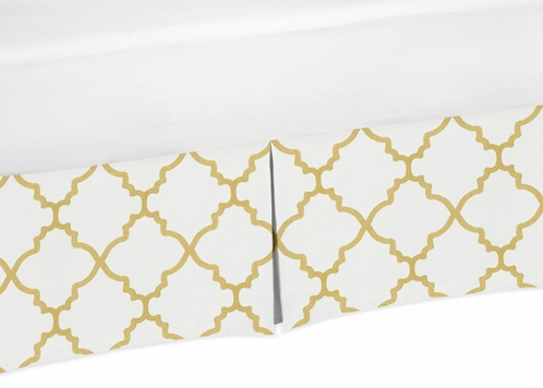Queen Bed Skirt for White and Gold Trellis Collection Bedding Sets - Click to enlarge