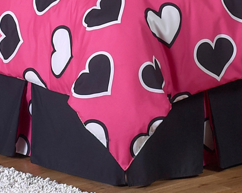 Queen Kids Childrens Bed Skirt for Pink and Black Hearts Bedding Sets by Sweet Jojo Designs - Click to enlarge