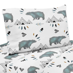 Queen Sheet Set for Bear Mountain Watercolor Collection by Sweet Jojo Designs - 4 piece set