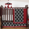 Red and Black Trellis Baby Bedding - 4pc Crib Set by Sweet Jojo Designs