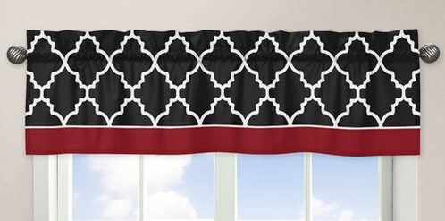 Red and Black Trellis�Collection Window Valance by Sweet Jojo Designs - Click to enlarge