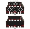 Red and Black Trellis Baby Crib Side Rail Guard Covers by Sweet Jojo Designs - Set of 2