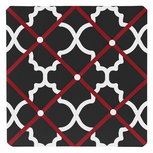 Red and Black Trellis Fabric Memory/Memo Photo Bulletin Board - Click to enlarge