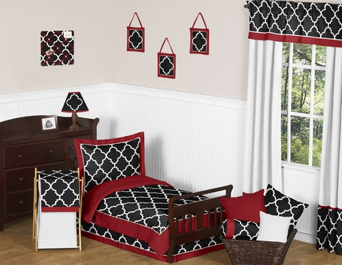 Red and Black Trellis Toddler Bedding - 5pc Set by Sweet Jojo Designs - Click to enlarge