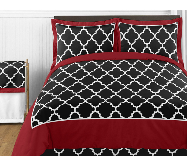 Red and Black Trellis 4pc Childrens and Kids Twin Bedding Set by