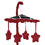 Red and Black Trellis Print Musical Baby Crib Mobile by Sweet Jojo Designs
