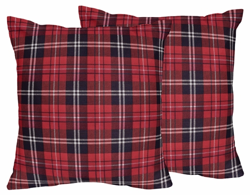 Red and Black Woodland Plaid Flannel Decorative Accent Throw Pillows for Rustic Patch Collection by Sweet Jojo Designs - Set of 2 - Click to enlarge