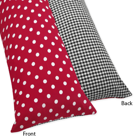 Red and White Ladybug Polka Dot Full Length Double Zippered Body Pillow Case Cover by Sweet Jojo Designs - Click to enlarge