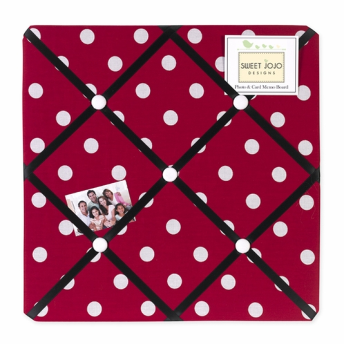 Red and White Polka Dot Ladybug Fabric Memory/Memo Photo Bulletin Board - Click to enlarge