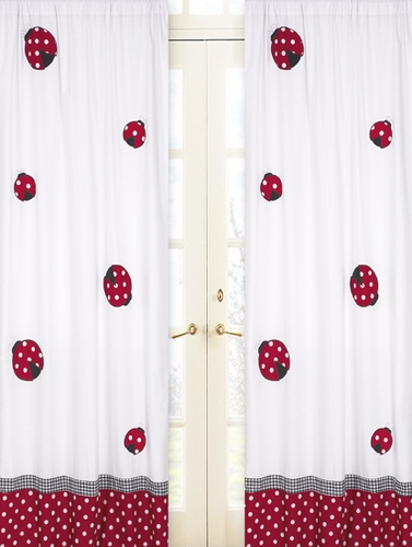 Red and White Polka Dot Ladybug Window Treatment Panels - Set of 2 - Click to enlarge