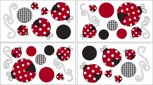 Red and White Polka Dot Little Ladybug Baby and Childrens Wall Decal Stickers - Set of 4 Sheets - Click to enlarge