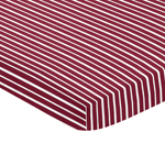 Red and White Stripe Baby Fitted Mini Portable Crib Sheet for Aviator Collection by Sweet Jojo Designs