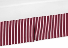 Red and White Stripe Crib Bed Skirt for Vintage Aviator Bedding Sets