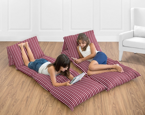 Red and White Stripe Kids Teen Floor Pillow Case Lounger Cushion Cover by Sweet Jojo Designs - Click to enlarge