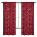 Red Bandana Window Treatment Panels for Wild West Cowboy Western Collection - Set of 2