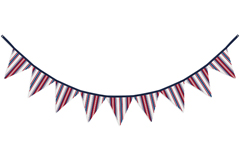 Red White and Blue Stripe Fabric Pennant Flag Banner Bunting Nursery Baby Wall D�cor