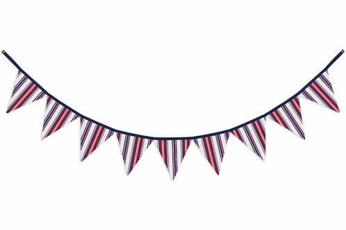 Red White and Blue Stripe Fabric Pennant Flag Banner Bunting Nursery Baby Wall Décor - Click to enlarge