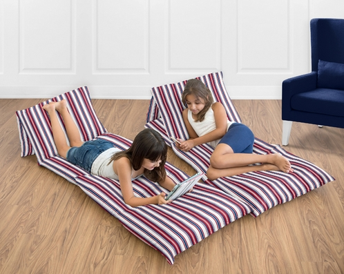 Red, White and Blue Stripe Kids Teen Floor Pillow Case Lounger Cushion Cover for Nautical Nights Collection - Click to enlarge