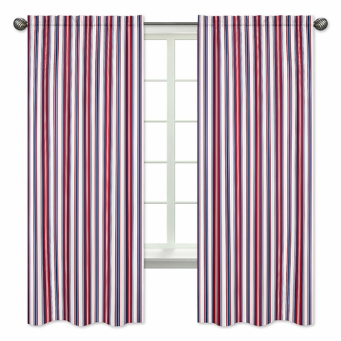 Red, White and Blue Stripe Window Treatment Panels for Nautical Nights Collection - Set of 2 - Click to enlarge