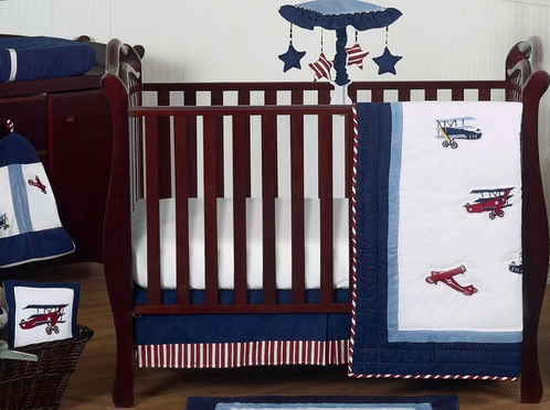 Red White And Blue Vintage Aviator Airplane Baby Bedding 11pc Crib Set Click