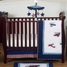 Red, White and Blue Vintage Aviator Airplane Baby Bedding - 4pc Crib Set