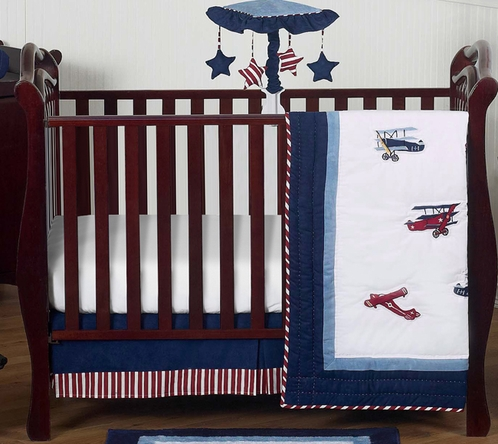Red White And Blue Vintage Aviator Airplane Baby Bedding 4pc Crib Set Only 139 99