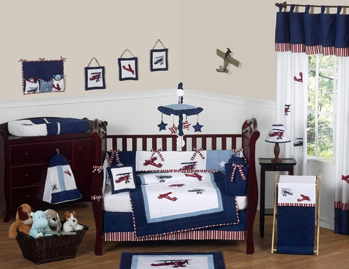 Red White And Blue Vintage Aviator Airplane Baby Bedding