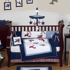 Red White And Blue Vintage Aviator Airplane Baby Bedding 9 Pc Crib Set