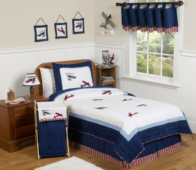Red, White And Blue Vintage Aviator Airplane Childrens Bedding   4 Pc Twin  Set Only $119.99
