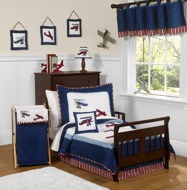 red white and blue vintage aviator airplane toddler bedding 5 pc set only 9999 - Toddler Boy Sheets